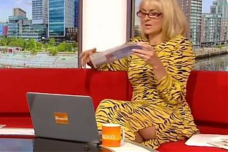 Louise Minchin Showing Some Leg In A Slit Dress