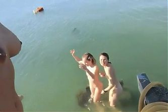 Shailene Woodley and two girlfriends totally naked outdoors